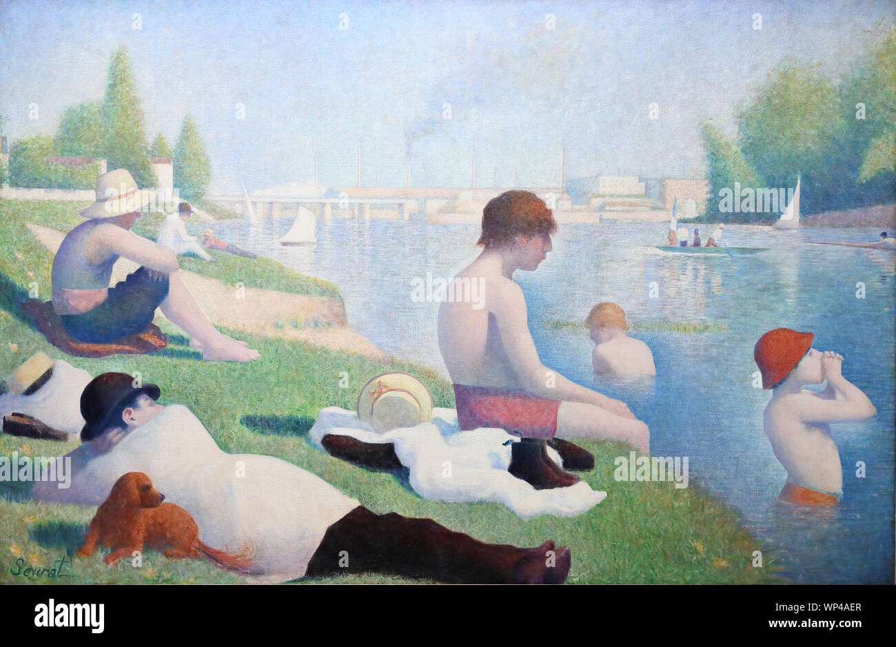 Bathers At Asnières By French Painter Georges Seurat At The National Gallery London Uk Stock Photo Alamy