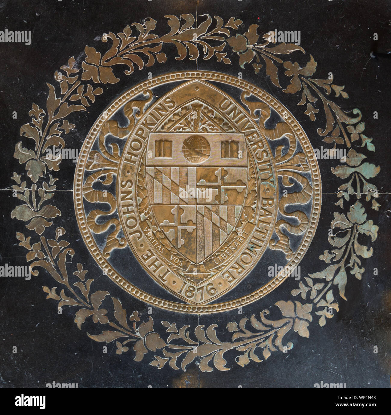 Johns Hopkins University seal on the floor of Gilman Hall, on the Johns Hopkins University campus in Baltimore, Maryland Stock Photo