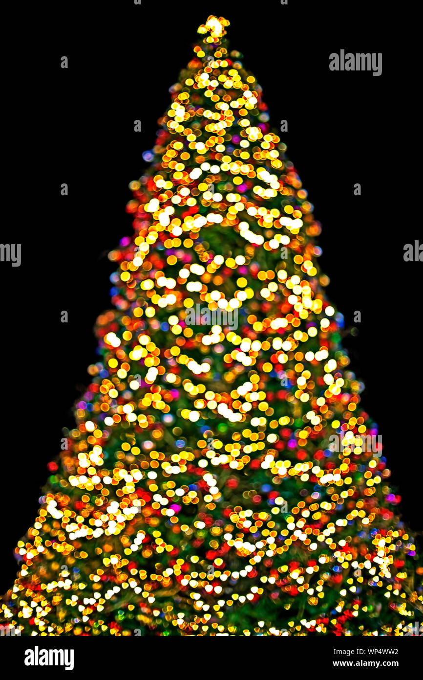 Background Christmas Tree With Multicolored Lights Glowing In Winter Stock Photo Alamy