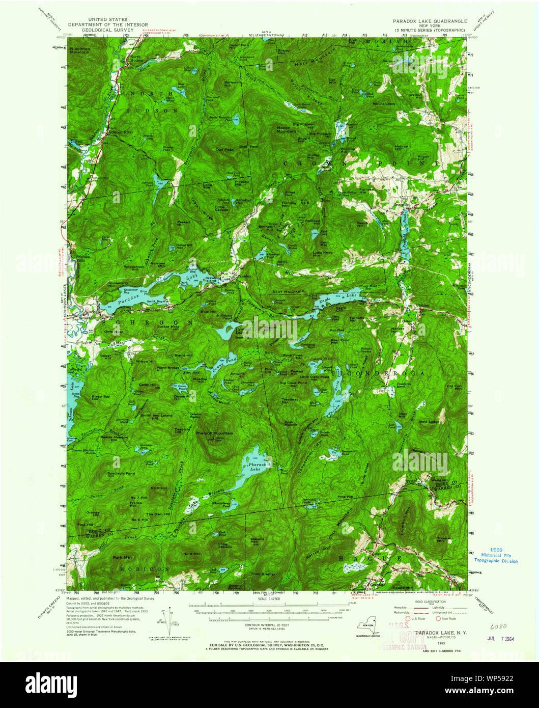 New York NY Paradox Lake 136391 1953 62500 Restoration Stock Photo