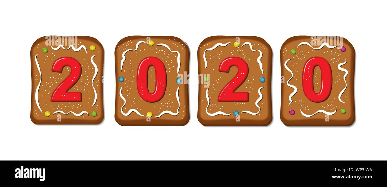 2020 Christmas Numbers Gingerbread cookies with a set of numbers 2020. Christmas and new
