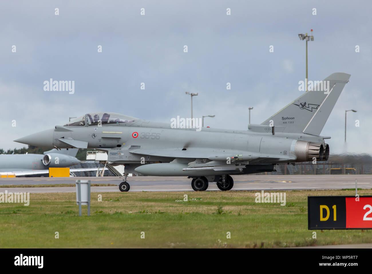 Itailian Eurofigher Typhoon (EF2000) on taxi at RAF Waddington 4th September 2019. Stock Photo