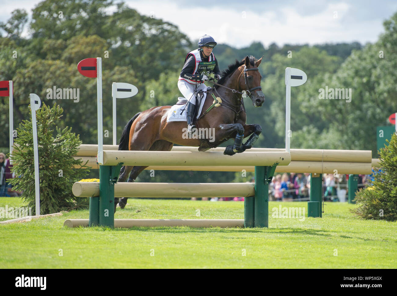 Stamford, UK, Saturday 7th September, 2019. Piggy French (GBR) riding Vanir Kamira during the Land Rover Burghley Horse Trials,  Cross Country phase. © Julie Priestley/Alamy Live News Stock Photo