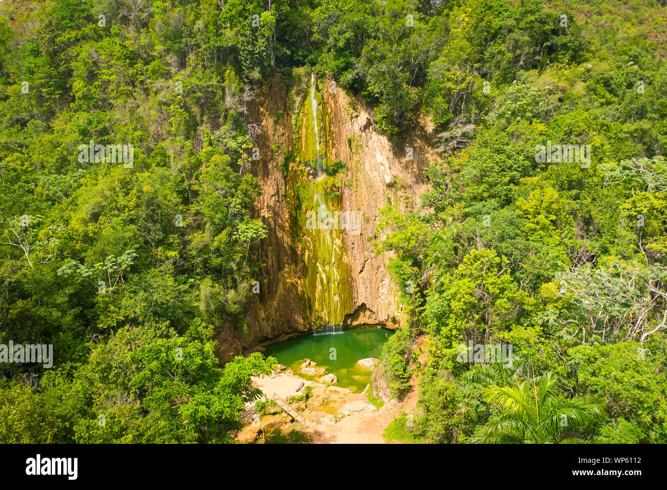 Scenic aerial view of El Limon waterfall in jungles of Samana peninsula in Dominican Republic. Amazing summer look of cascade in tropical forest from Stock Photo