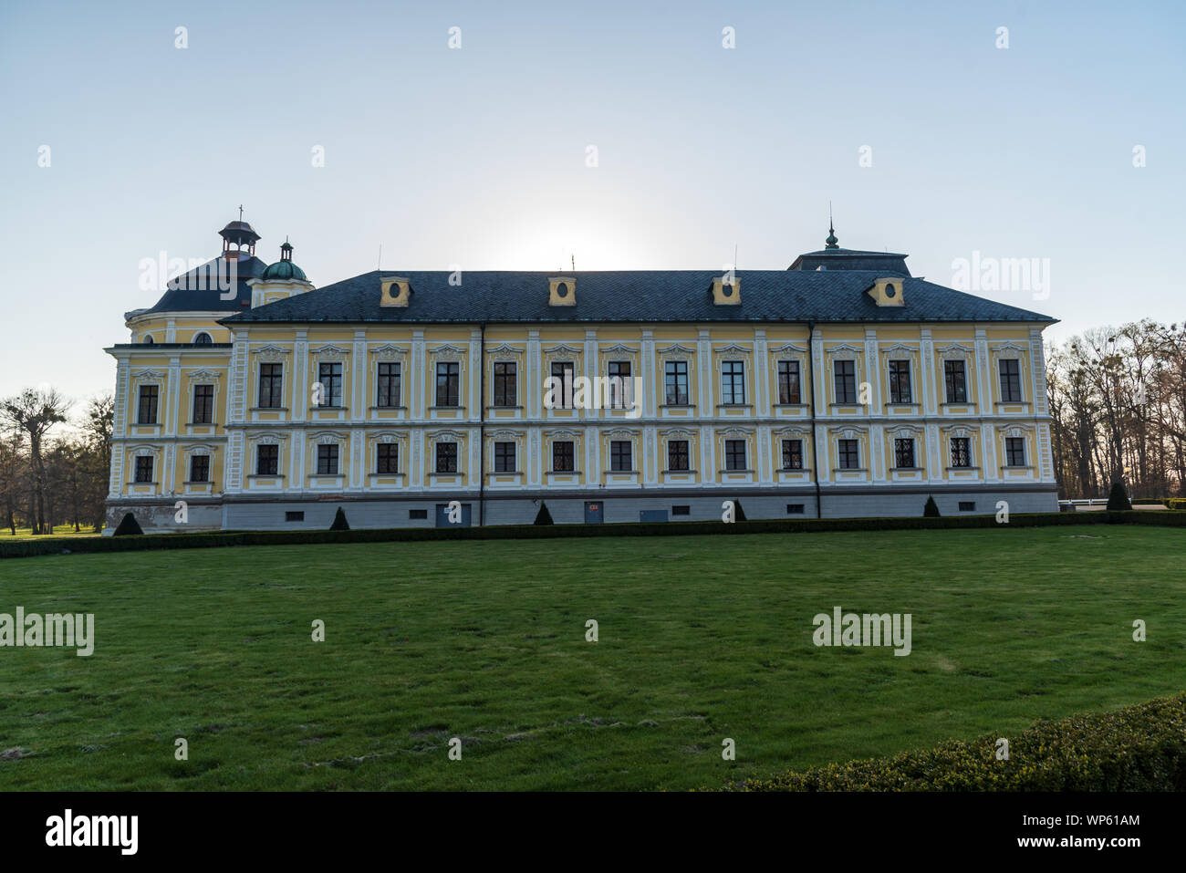 Kravare chateau near Opava town in Czech republic during springtime evening with clear sky Stock Photo