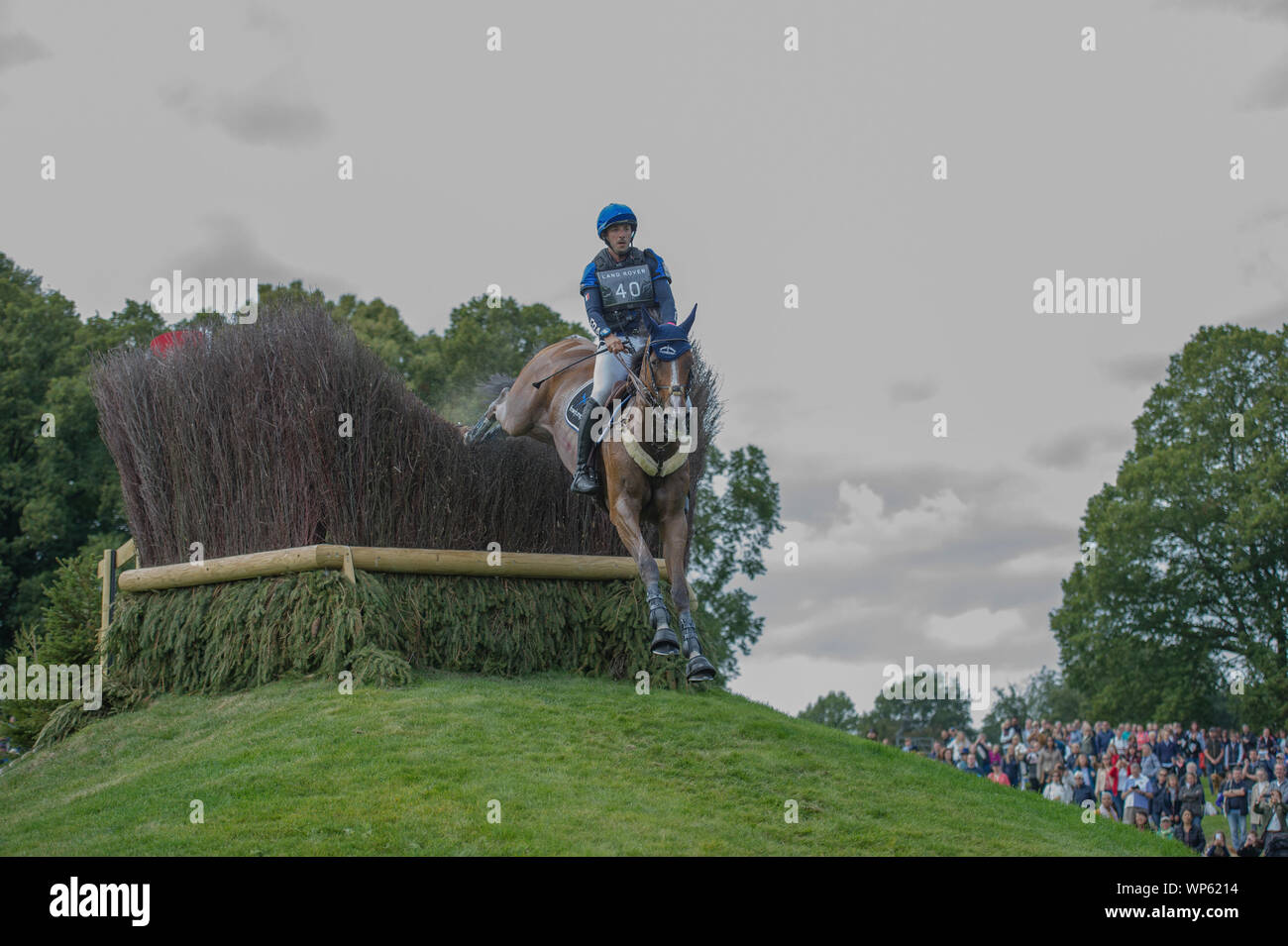Stamford, UK, Saturday 7th September, 2019. Sebastien Cavaillon riding Sarah D'argouges during the Land Rover Burghley Horse Trials,  Cross Country phase. © Julie Priestley/Alamy Live News Stock Photo