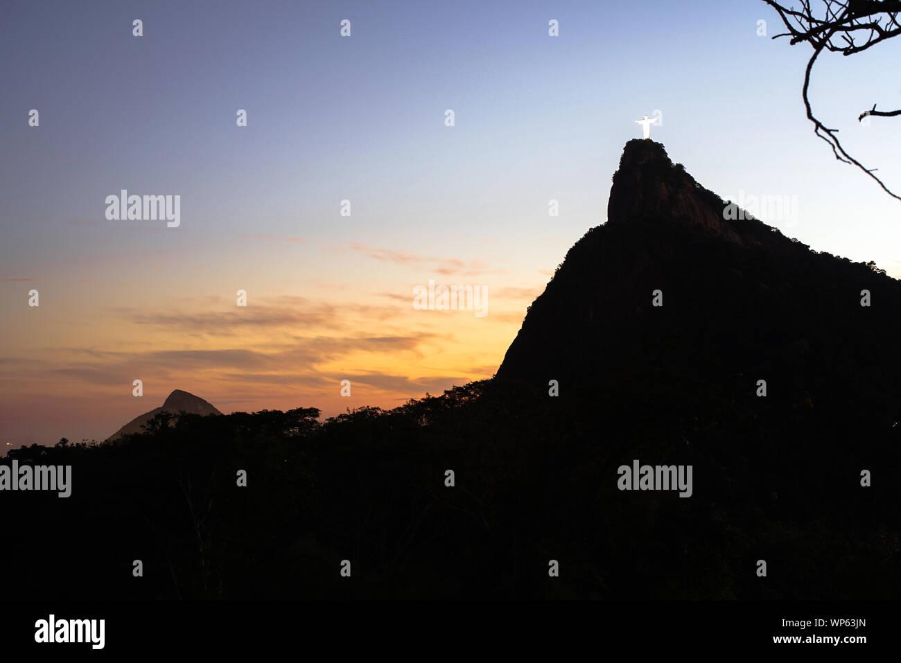 Christ the Redeemer and Corcovado mountain in Rio de Janeiro, Brazil Stock Photo