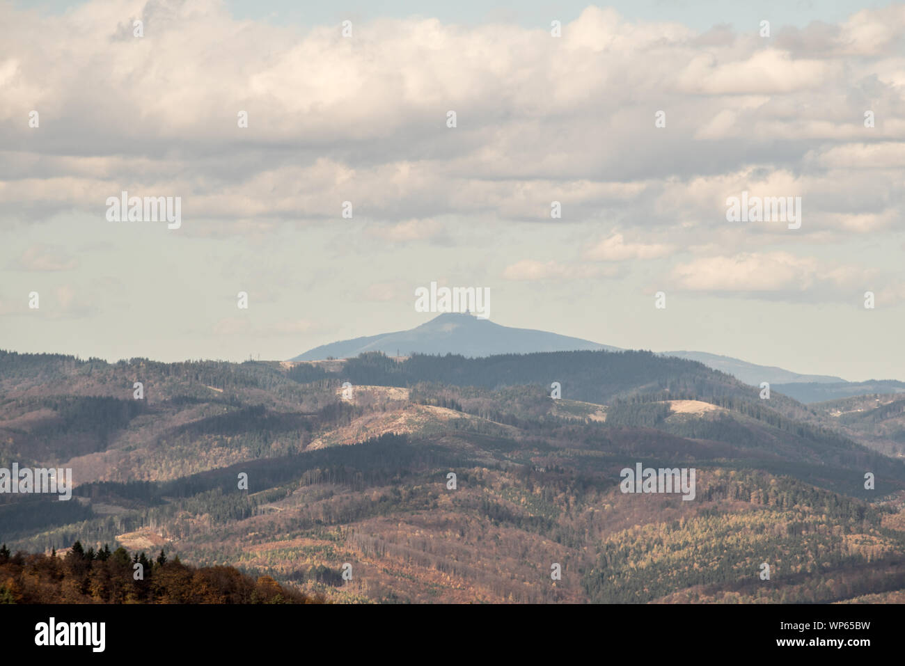 view tp Lysa hora hill in Moravskoslezske Beskydy mountains with Javorniky mountain range with Luby hill on the front from Kecka hill in Sulovske skal Stock Photo