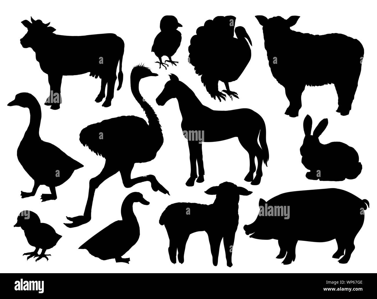 Farm animals livestock vector black silhouettes isolated on white. Cow, sheep, pig, horse, ostrich, duck, rabbit, goose, turkey bird and lamb, handdrawn icons or symbols Stock Vector