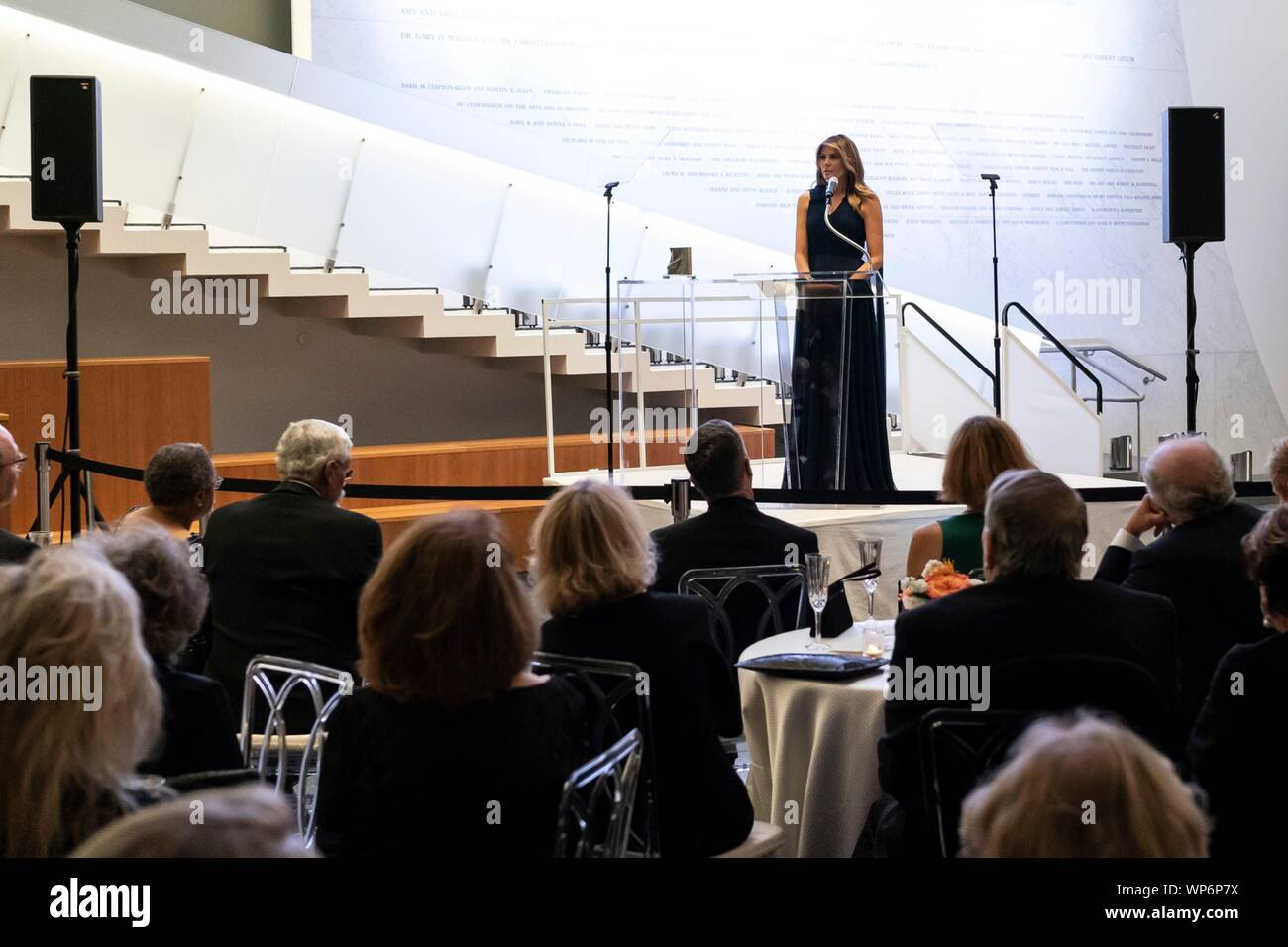 Washington, DC, USA. 05 September, 2019. U.S. First Lady Melania Trump delivers remarks during a dedication ceremony for the REACH Donor Wall at the John F. Kennedy Center for the Performing Arts September 5, 2019 in Washington, D.C. Stock Photo