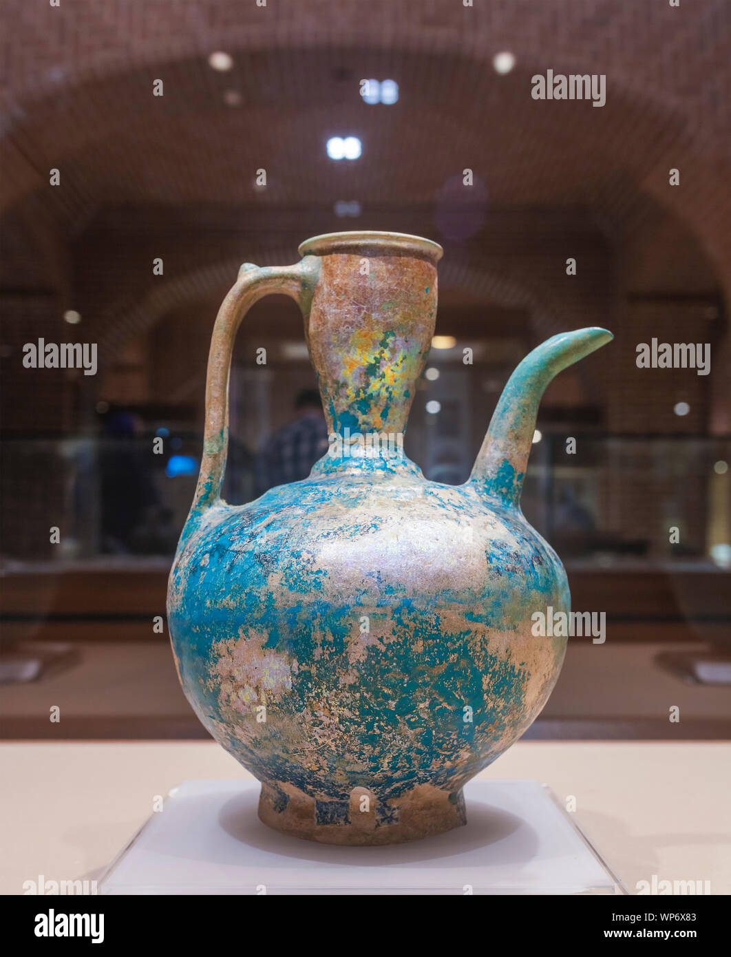 Glazed pottery pitcher, 9th century, Anthropology Museum, Ardabil, Ardabil Province, Iran Stock Photo