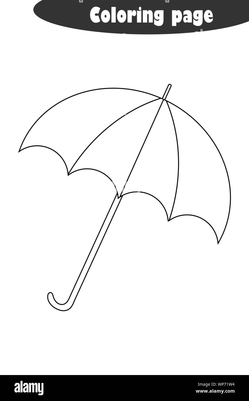 Umbrella in cartoon style, autumn black white coloring page ...