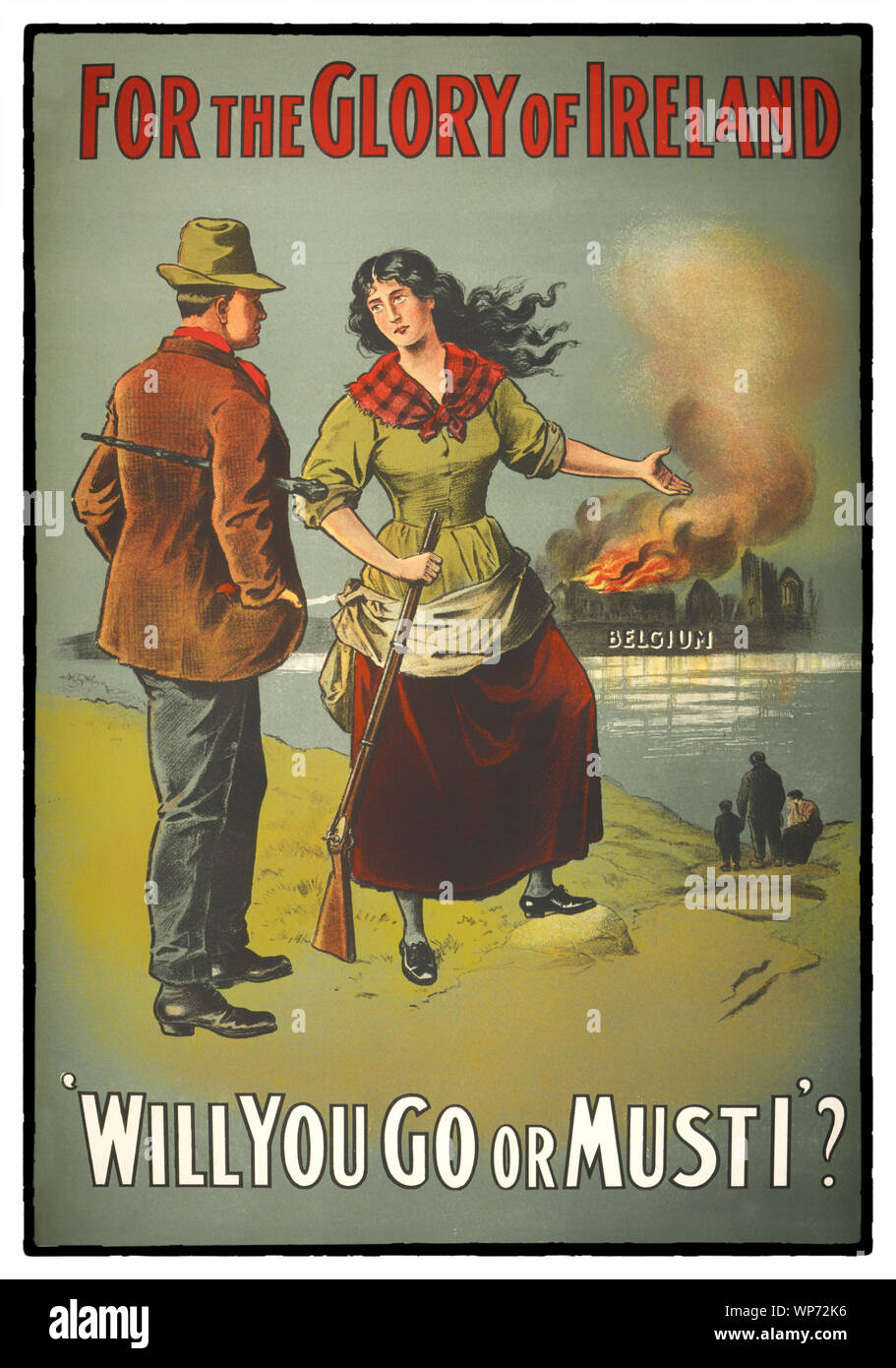 During World War I, (1914–1918) the impact of the poster as a means of communication was greater than at any other time during history, asking men to do their duty and join the military forces.  The recruitment camapign used women to encourage men to join the British Army at the Westrn Front in Flanders. At the outbreak of war, most Irish people, regardless of political affiliation, supported the war in much the same way as their British counterparts, and both nationalist and unionist leaders initially backed the British war effort. Stock Photo