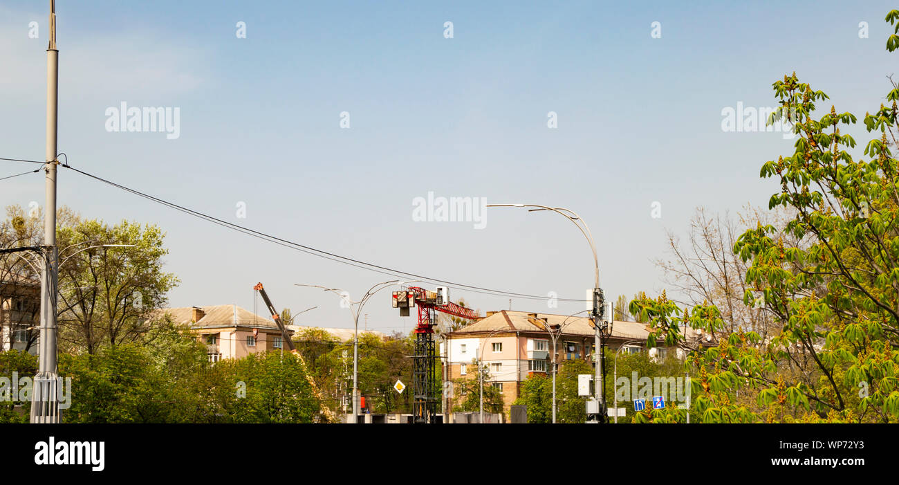 Construction Crane On The City Streets Background Stock Photo Alamy