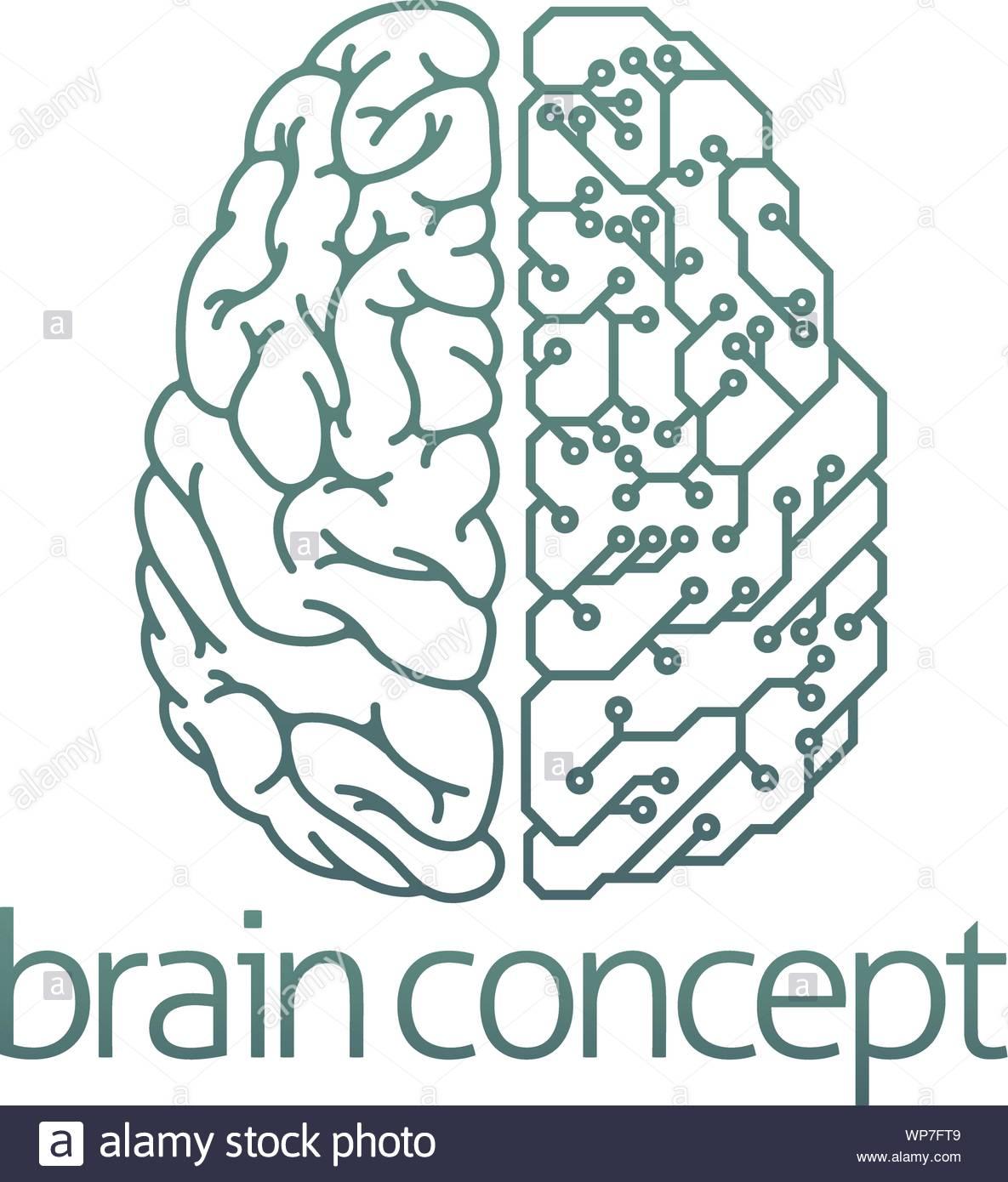 side vector circboard wiring diagram brain half electrical circuit board concept stock vector art  brain half electrical circuit board