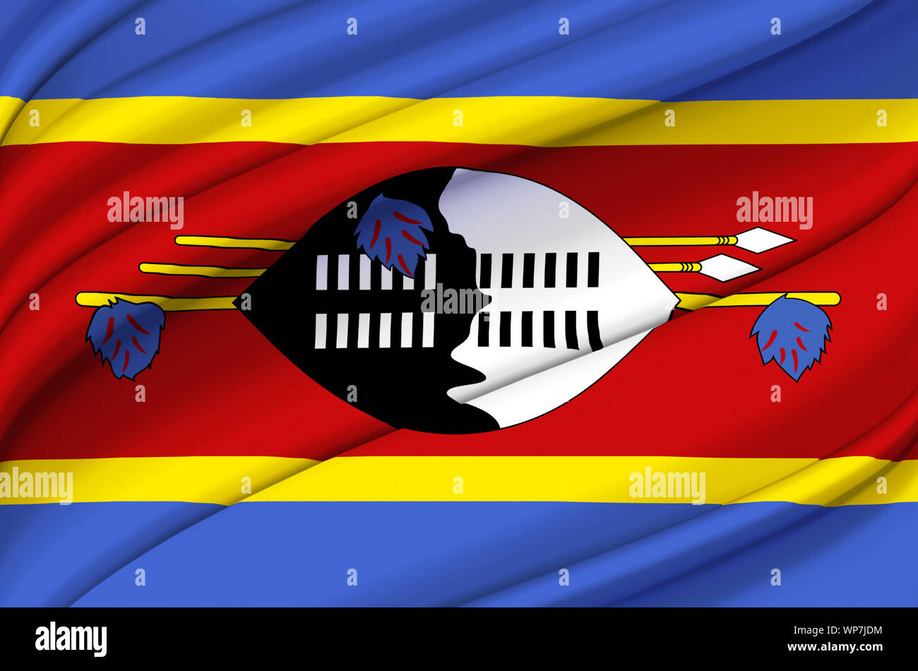 Swaziland waving flag illustration. Countries of Africa. Perfect for background and texture usage. Stock Photo