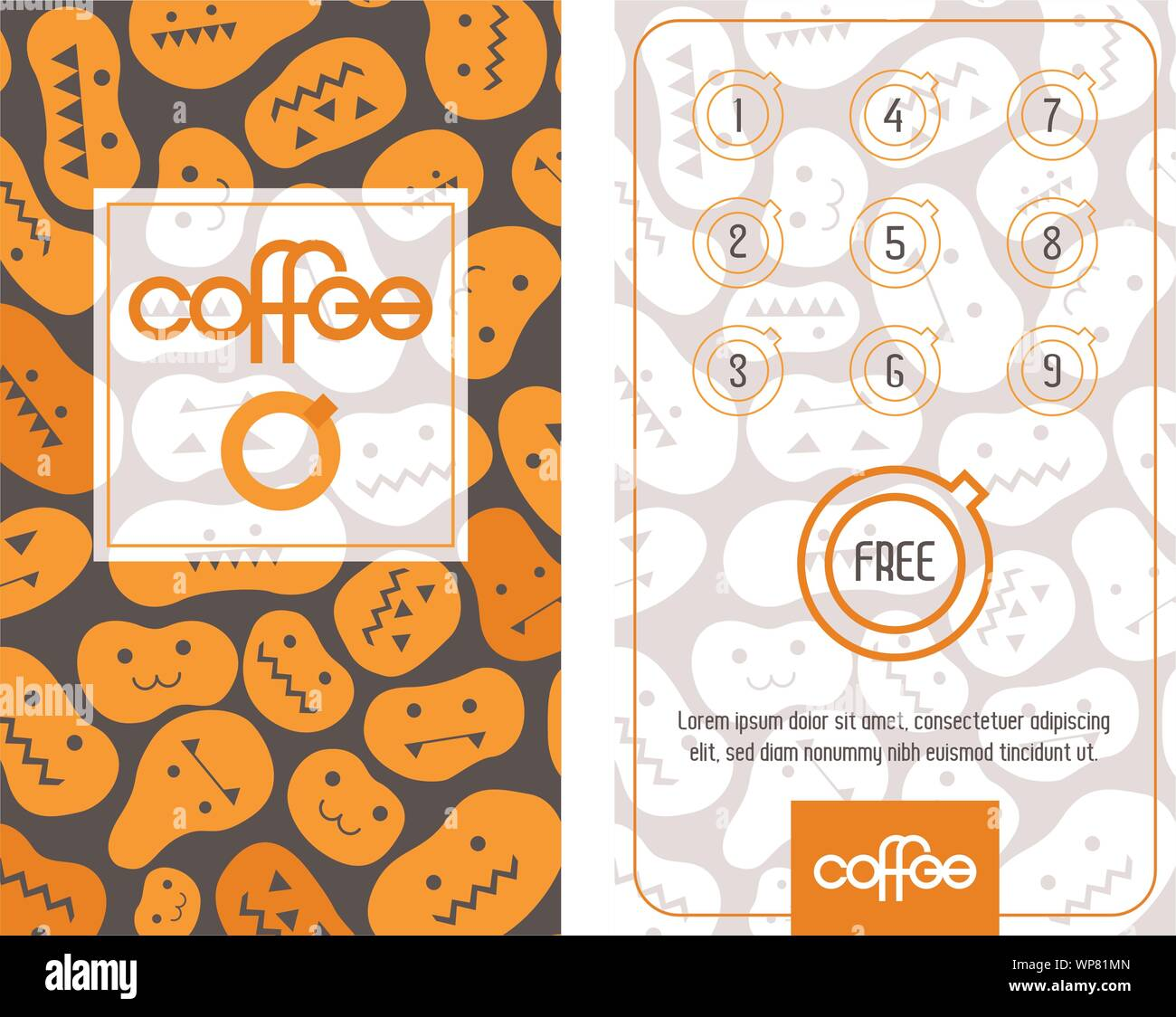Loyalty Coffee Card Template In Halloween Mood With Curved Pumpkins Get One Free Stock Vector Image Art Alamy