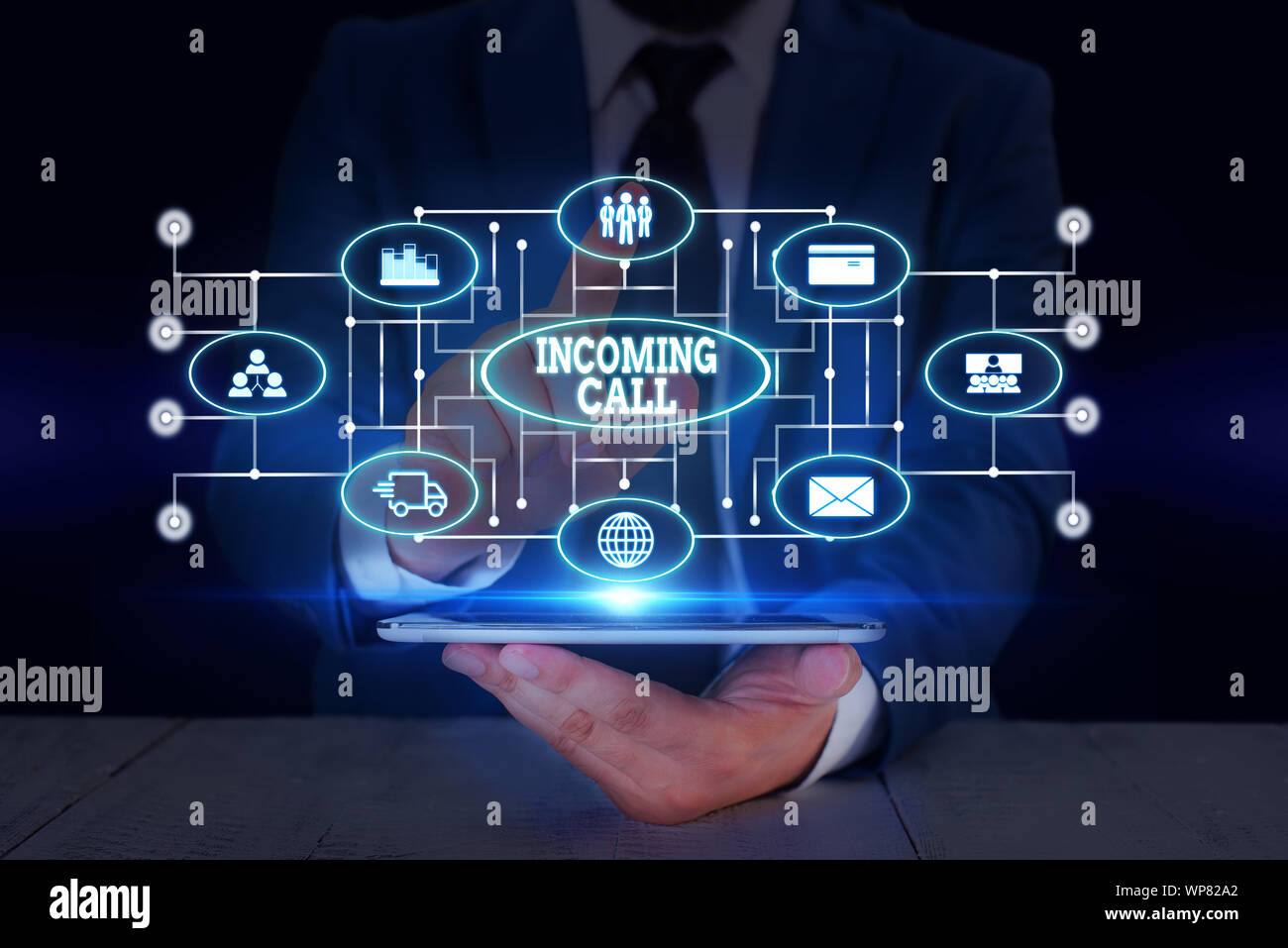 Text sign showing Incoming Call. Business photo text Inbound Received Caller ID Telephone Voicemail Vidcall Male human wear formal work suit presentin Stock Photo