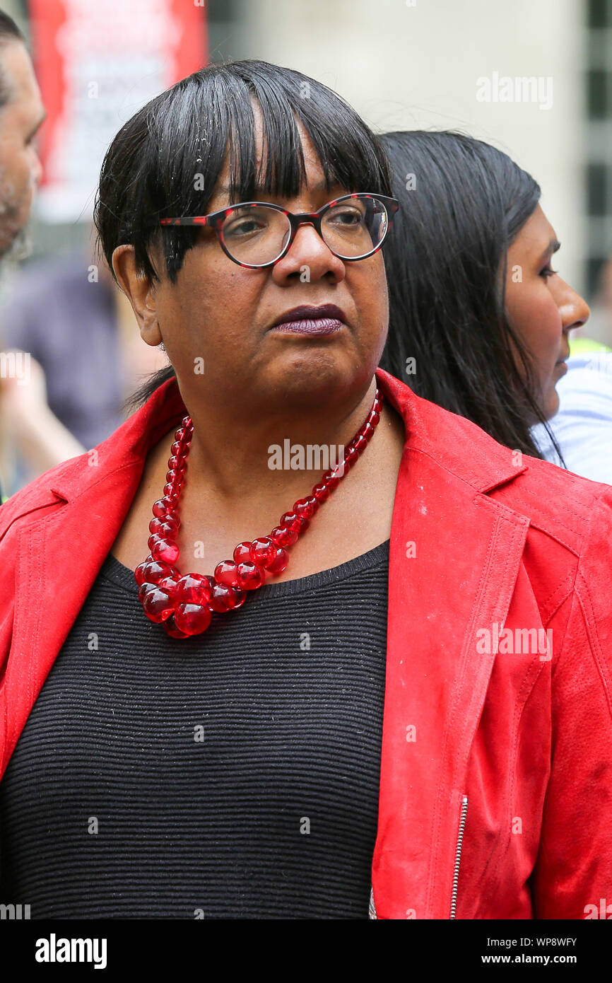 London, UK. 07th Sep, 2019. Diane Abbott, Shadow Home Secretary attends the protest.The campaigners are demonstrating to oppose the British Prime Minister Boris Johnson's plans to suspend UK Parliament until October 14. Credit: SOPA Images Limited/Alamy Live News Stock Photo