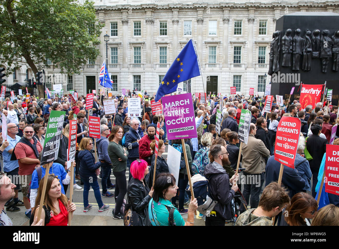 London, UK. 07th Sep, 2019. Anti-Brexit campaigners with placards and EU flags demonstrates at London's Whitehall in Westminster.The campaigners are demonstrating to oppose the British Prime Minister Boris Johnson's plans to suspend UK Parliament until October 14. Credit: SOPA Images Limited/Alamy Live News Stock Photo