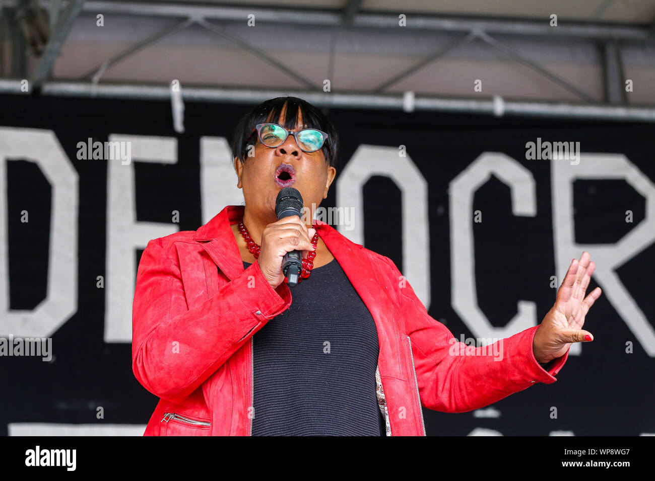 London, UK. 07th Sep, 2019. Diane Abbott, Shadow Home Secretary speaks during the protest.The campaigners are demonstrating to oppose the British Prime Minister Boris Johnson's plans to suspend UK Parliament until October 14. Credit: SOPA Images Limited/Alamy Live News Stock Photo