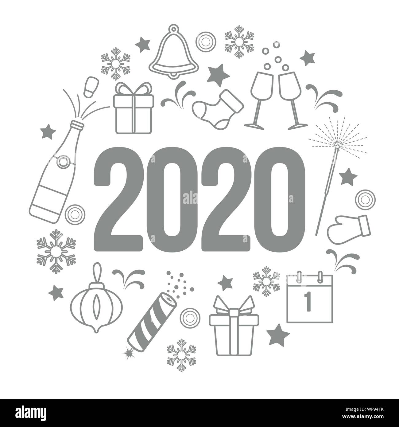 happy new year 2020 card gift boxes bottle glasses christmas sock gingerbread bell poppers sparkler mitten calendar snowflakes design for p stock vector image art alamy https www alamy com happy new year 2020 card gift boxes bottle glasses christmas sock gingerbread bell poppers sparkler mitten calendar snowflakes design for p image271878703 html