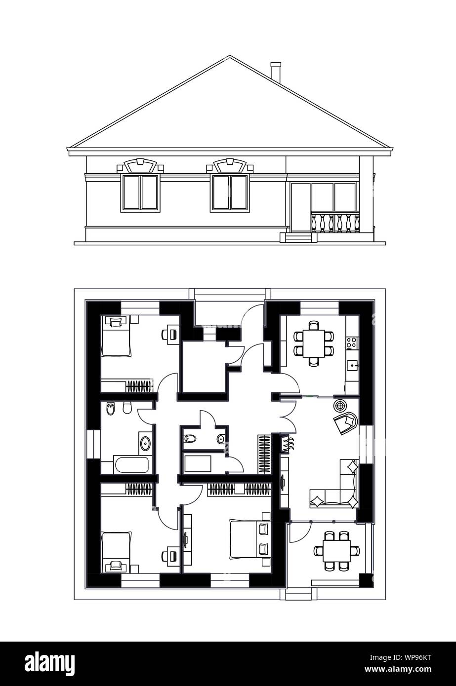 Architectural facade and plan of a house. The drawing of the ... on architect house planning, architect advertising, architect furniture, 3d home architect plans, architect community plans, architect blueprints, architect education, architect landscape, architect construction, architect tools, architect roof plans, architect house sketches, architect software, architect design, architect house ideas, architect hotels, architect wallpaper, architect engineers, architect drafting, architect office,