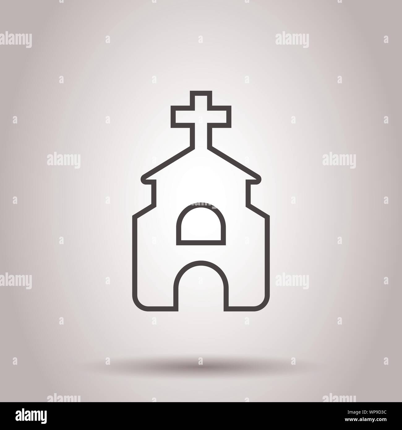 Church icon in flat style. Chapel vector illustration on isolated background. Religious building business concept. Stock Vector