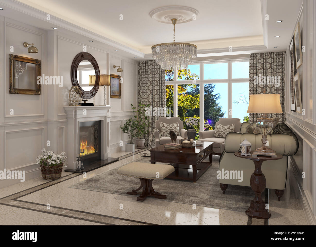 3d Illustration Living Room Interior In American Style Stock Photo Alamy