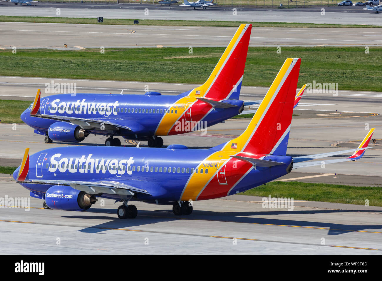 San Jose, California – April 10, 2019: Southwest Airlines Boeing 737-700 airplanes at San Jose airport (SJC) in the United States. Stock Photo