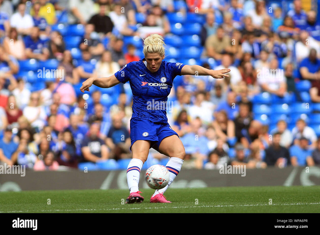 London, UK. 08th Sep, 2019. Millie Bright of Chelsea Women in action. FA Women's super league match, Chelsea women v Tottenham Hotspur women at Stamford Bridge in London on Sunday 8th September 2019. this image may only be used for Editorial purposes. Editorial use only, license required for commercial use. No use in betting, games or a single club/league/player publications. pic by Steffan Bowen/ Credit: Andrew Orchard sports photography/Alamy Live News Stock Photo