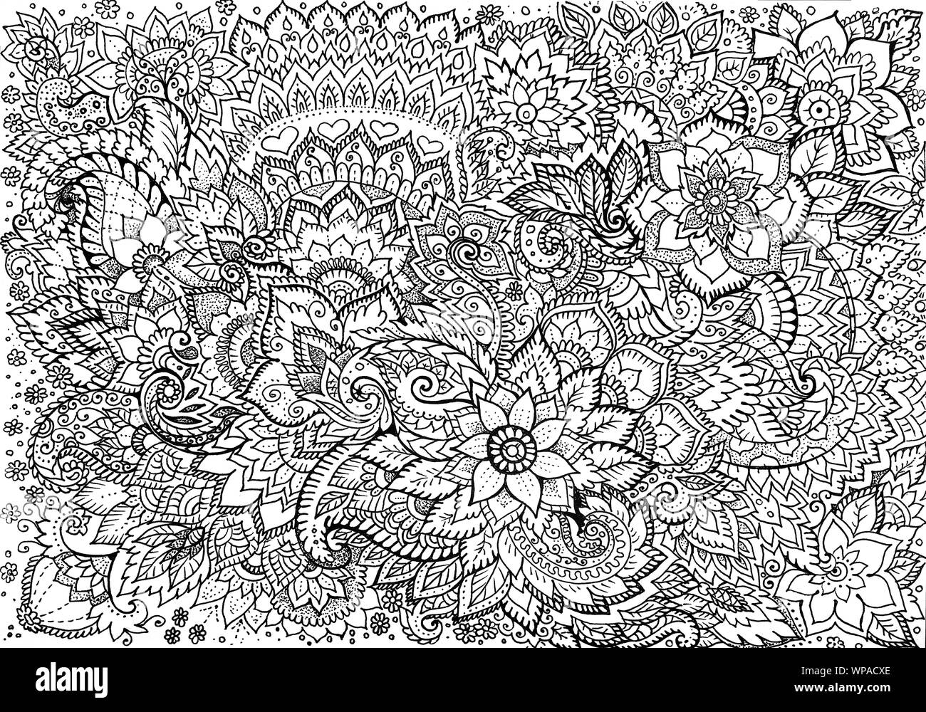 Drawing Background With Beautiful Floral Patterns Stock Photo