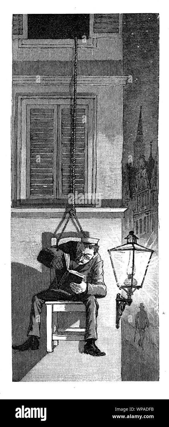 German satirical magazine of  humor and caricatures: parsimonious funny man reading at the light of the street lantern sitting on a chair hanging outside the window Stock Photo