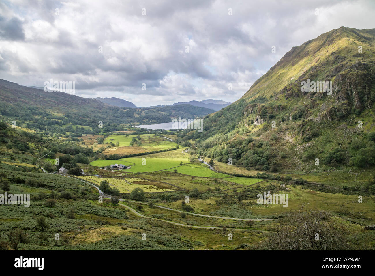Looking down the Nant Gwynant valley towards Llyn Gwynant, Snowdonia National Park, North Wales, UK Stock Photo