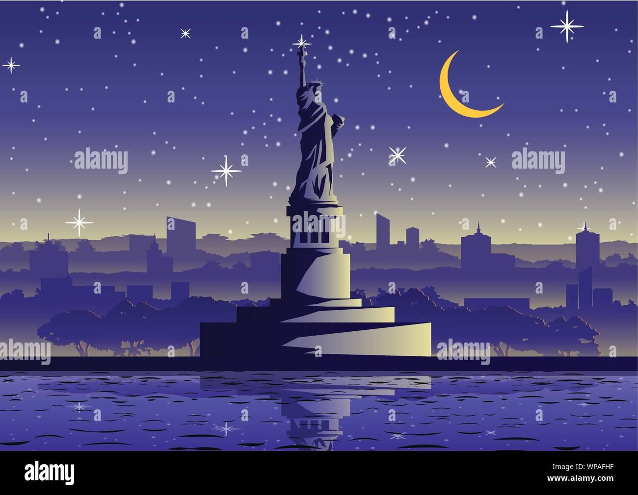 liberty statue famous landmark of USA ,silhouette style,vector illustration Stock Vector