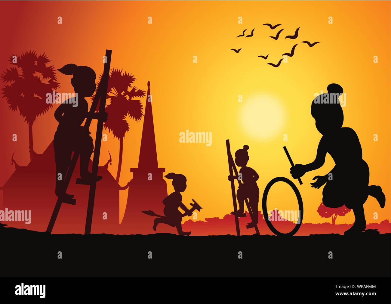 Silhouette children play game,stand the bowl or Legs tho The ash bowl a leg banana horse and hit wheel roll,Thai ancient play ,scenery background,vect Stock Vector