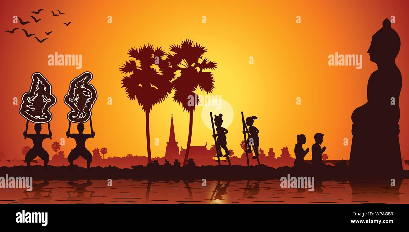 Country life grand shadow play,stand the bowl and couple pay respect to Buddha sculpture Stock Vector