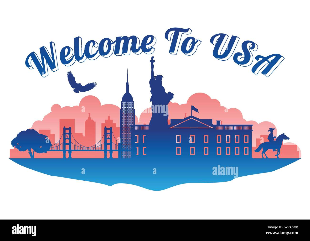 USA top famous landmark silhouette style on island  famous landmark silhouette style,welcome to usa,travel and tourism,vector illustration Stock Vector