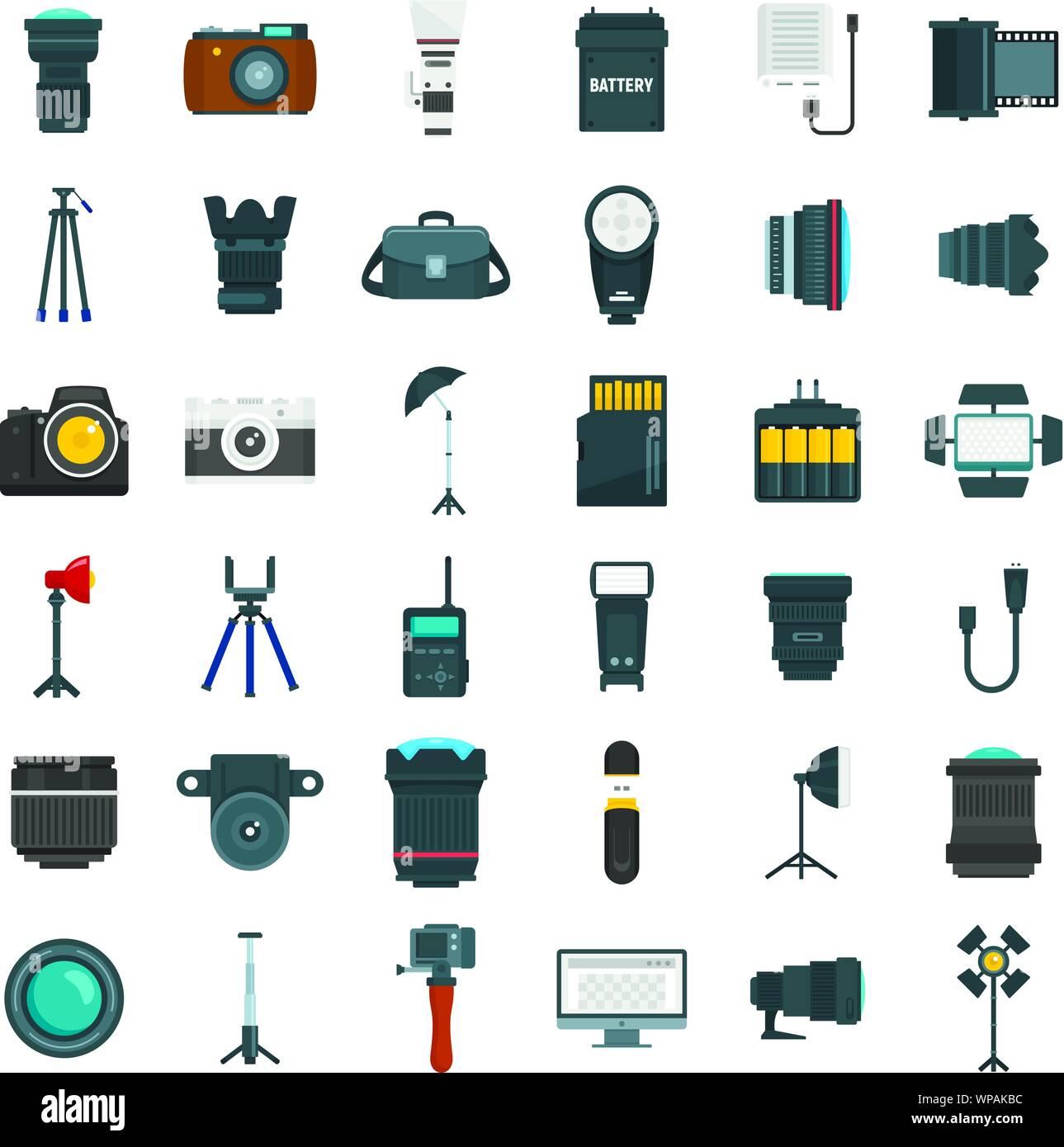 Photographer equipment icons set. Flat set of photographer equipment vector icons for web design Stock Vector