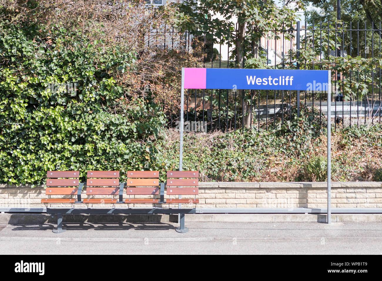 Westcliff on Sea train station Stock Photo