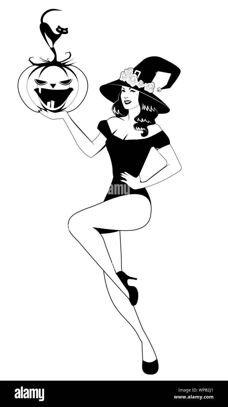 Miss Pumpkin Witch Pin-Up