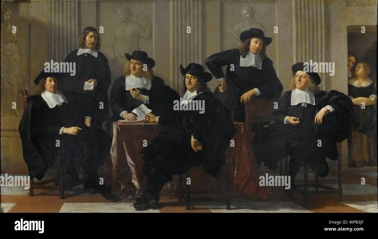 The Regents of the Spin House and New Work House, Amsterdam, Karel du Jardin, 1669.jpg - WPB3JF Stock Photo