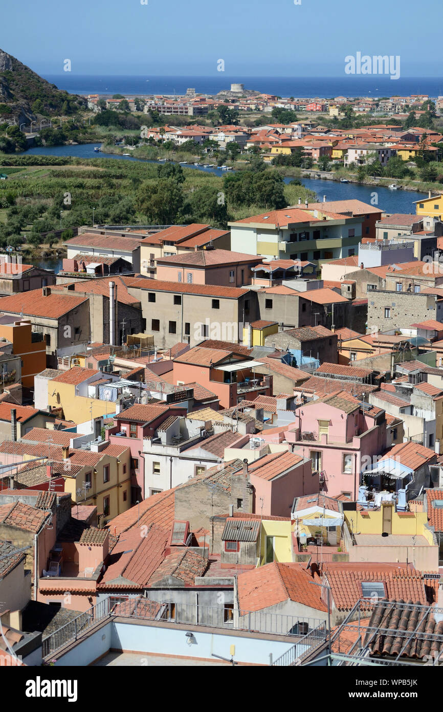 aerial view of the beautiful city of Bosa on the Sardinian coast, crossed by the navigable river Temo Stock Photo