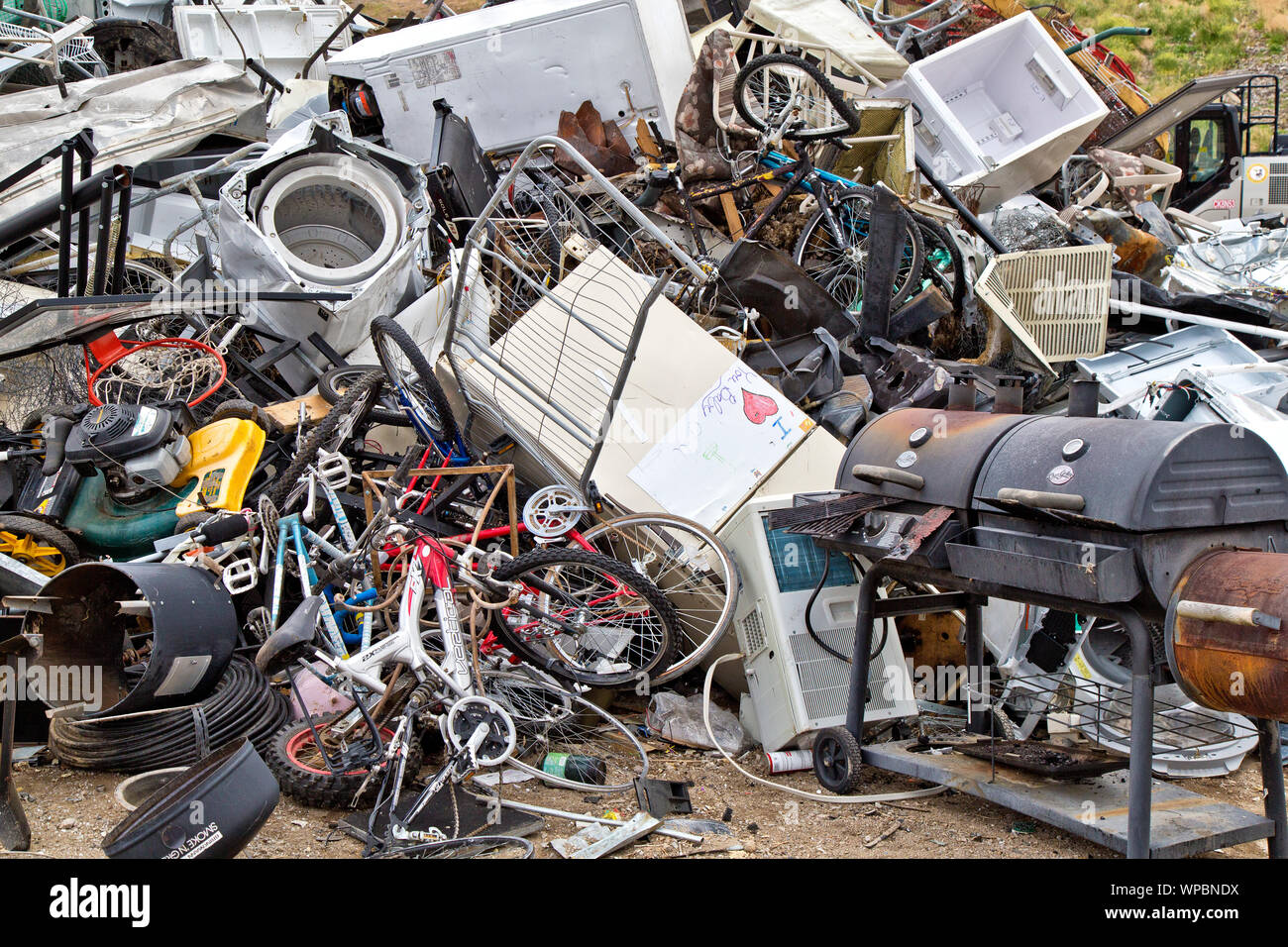 Landfill, collection site, discarded  'metal & plastic'  products. Stock Photo