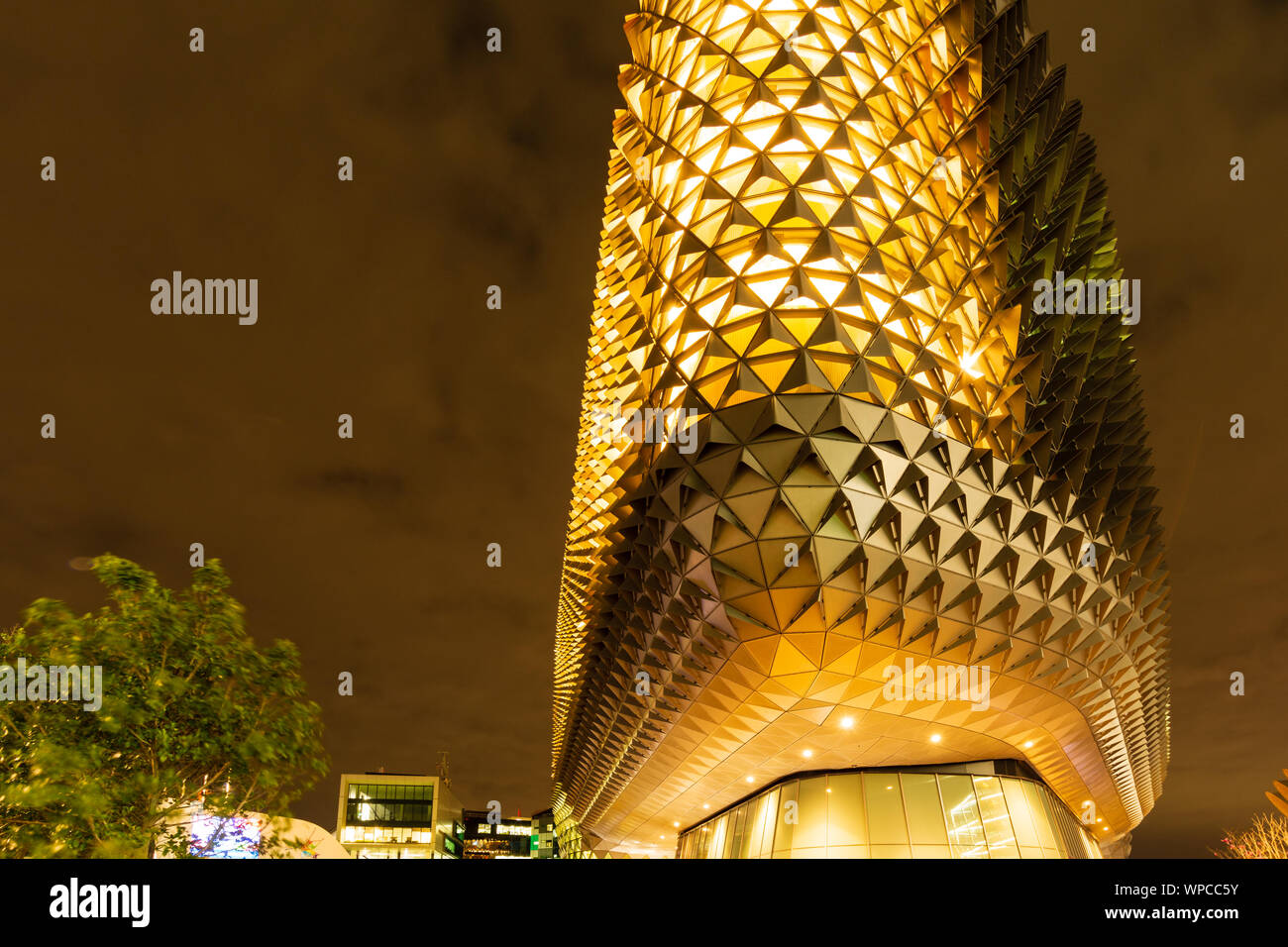 A Modern Building at Night. The South Australian Health and Medical Research Institute Building in Adelaide Australia. Stock Photo