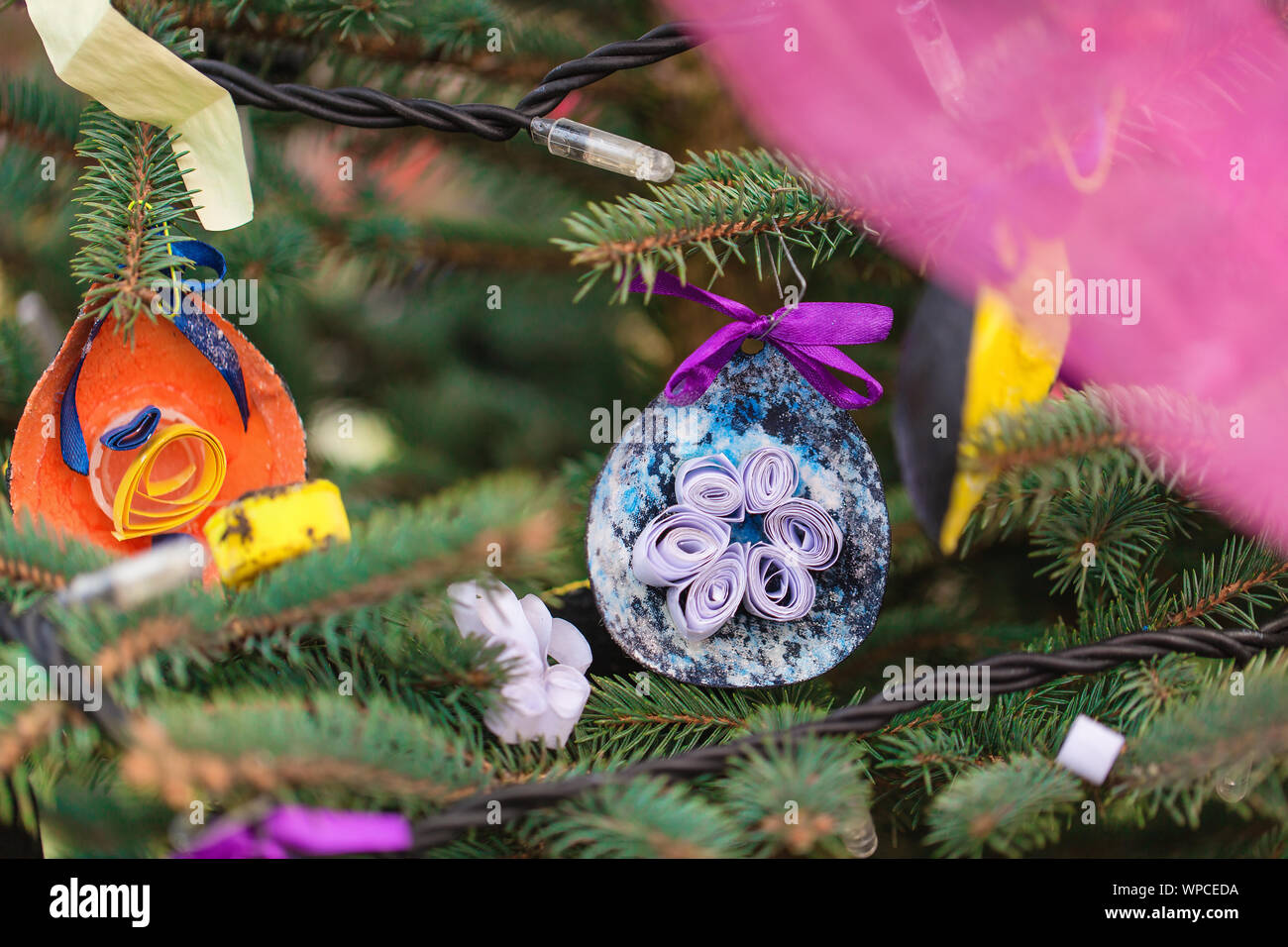 Handmade Decoration Made Of Avocado Skin On A Christmas Tree Outdoor Diy Crafts Creative Ideas For Children Environment Recycle And Zero Waste Conc Stock Photo Alamy