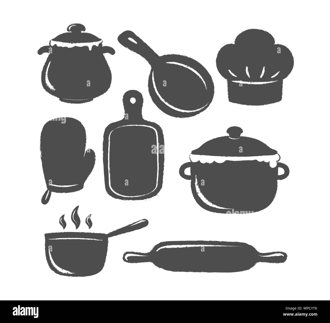 Collection Of Cooking Label Or Logo Silhouettes Of Kitchen