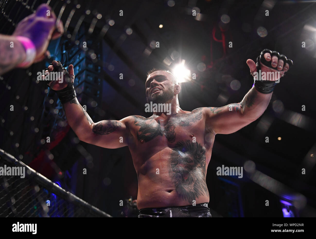 London, UK. 08th Sep, 2019. Troxy, London, England; UCMMA 60; Matthew Holland versus Alin Chirila in the  MMA 77KG Title fight, Alin Chirila celebrates winning his bout - Editorial Use Only. Credit: Action Plus Sports Images/Alamy Live News Stock Photo