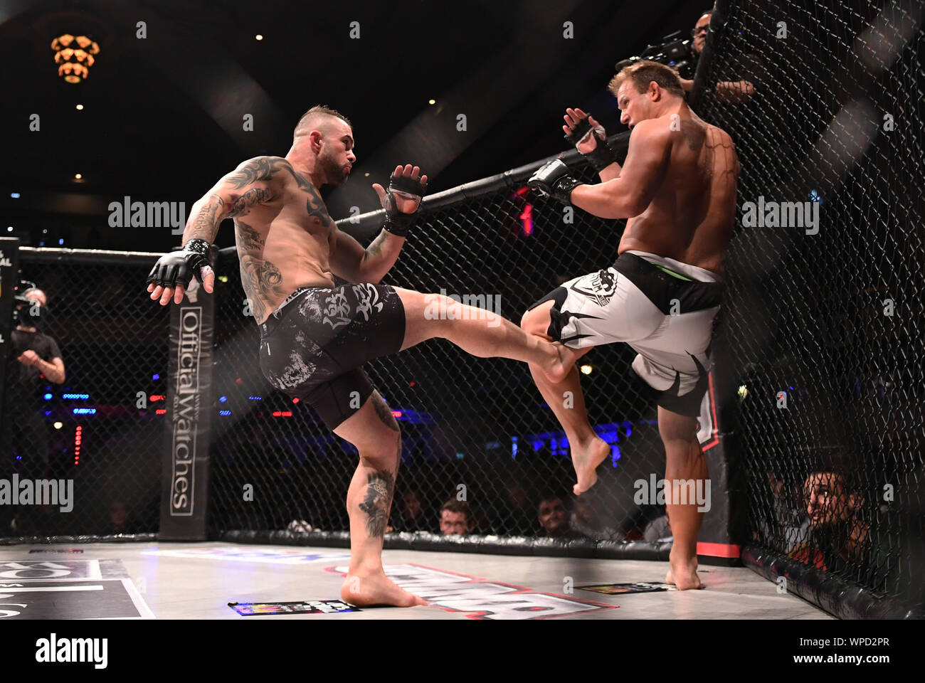 London, UK. 08th Sep, 2019. Troxy, London, England; UCMMA 60; Matthew Holland versus Alin Chirila in the  MMA 77KG Title fight, Alin Chirila lands a kick - Editorial Use Only. Credit: Action Plus Sports Images/Alamy Live News Stock Photo