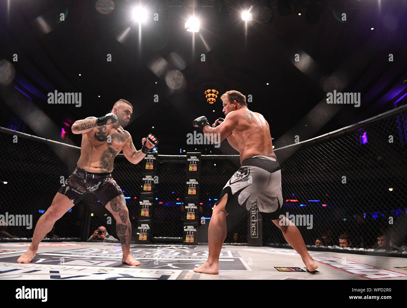 London, UK. 08th Sep, 2019. Troxy, London, England; UCMMA 60; Matthew Holland versus Alin Chirila in the  MMA 77KG Title fight, fighters face off - Editorial Use Only. Credit: Action Plus Sports Images/Alamy Live News Stock Photo